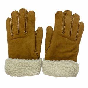 Fownes Suede Tan Faux Sherpa Fleece Lined Gloves M